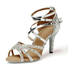 Women's Leatherette Sparkling Glitter Heels Sandals Latin Dance Shoes