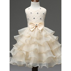 Ball Gown Knee-length Flower Girl Dress - Cotton Blends Sleeveless Scoop Neck With Ruffles/Bow(s)/Rhinestone