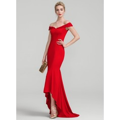 Trumpet/Mermaid Off-the-Shoulder Asymmetrical Jersey Evening Dress With Lace Beading Sequins