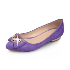 Suede Low Heel Flats Closed Toe With Bowknot Sequin shoes