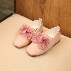 Girl's Leatherette Flat Heel Mary Jane Flats With Flower