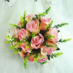 Fancy Round Artificial Silk Bridesmaid Bouquets