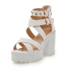 Women's Leatherette Chunky Heel Sandals Pumps Platform With Rivet shoes