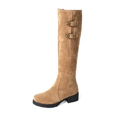 Women's Suede Low Heel Closed Toe Boots Knee High Boots With Buckle Zipper shoes
