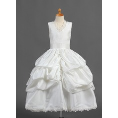 Ball Gown Tea-length Flower Girl Dress - Taffeta Sleeveless V-neck With Ruffles/Lace/Pick Up Skirt
