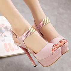 Women's Fabric Stiletto Heel Peep Toe Platform Pumps Sandals