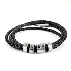 Men Braided Leather Bracelets With Custom Beads In Silver - Gifts For Men (106227799)
