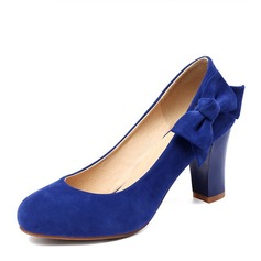 Women's Suede Chunky Heel Pumps Closed Toe With Bowknot shoes (085169762)