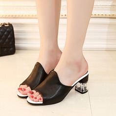 Women's PU Chunky Heel Sandals Slippers With Jewelry Heel shoes