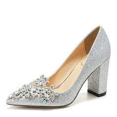 Women's Leatherette Sparkling Glitter Chunky Heel Closed Toe With Crystal