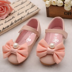 Girl's Leatherette Flat Heel Round Toe Mary Jane Flats With Bowknot Imitation Pearl Velcro