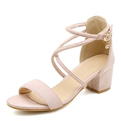 Women's Suede Stiletto Heel Sandals Pumps Peep Toe With Buckle shoes