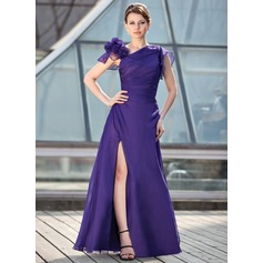 A-Line/Princess Floor-Length Chiffon Mother of the Bride Dress With Ruffle Beading Flower(s) Split Front