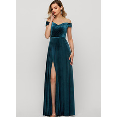 Off-the-Shoulder Floor-Length Velvet Evening Dress With Split Front (271240813)