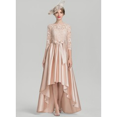 A-Line Scoop Neck Asymmetrical Satin Lace Mother of the Bride Dress With Bow(s)