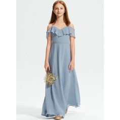 A-Line Off-the-Shoulder Floor-Length Chiffon Junior Bridesmaid Dress With Ruffles