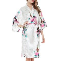 Bride Bridesmaid Polyester With Knee-Length Floral Robes Kimono Robes (248149778)