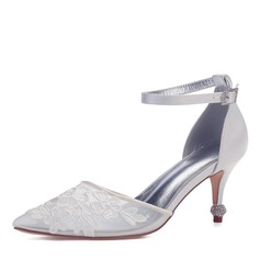 Women's Mesh Flat Heel Closed Toe Pumps With Crystal Heel Applique