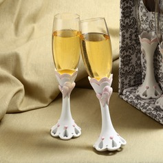 Chic Diamond-embedded Rose Design Lead-free Glass Toasting Flutes (Set Of 2)
