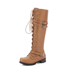 Women's PU Chunky Heel Pumps Boots Knee High Boots With Buckle Zipper Lace-up shoes