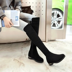 Women's Suede Flat Heel Boots Knee High Boots With Zipper shoes