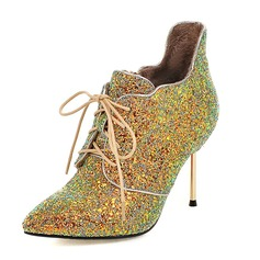 Women's Sparkling Glitter Stiletto Heel Pumps Closed Toe Boots Ankle Boots With Lace-up shoes