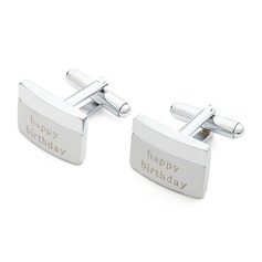 Personalized Rectangular Stainless Steel Cufflinks  (Personalized information is only English)