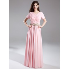 A-Line/Princess V-neck Floor-Length Chiffon Holiday Dress With Ruffle Beading (020025940)