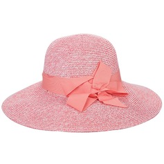 Ladies' Handmade/Hottest Polyester/Rattan Straw With Bowknot Straw Hats/Beach/Sun Hats/Kentucky Derby Hats