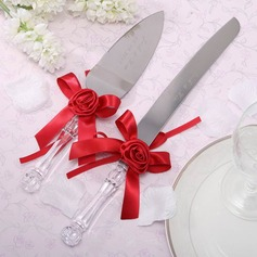 Personalized Stainless Steel Serving Sets With Ribbons