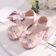 Girl's Peep Toe Microfiber Leather Flower Girl Shoes With Velcro