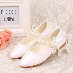 Jentas Lukket Tå Leather flat Heel Flower Girl Shoes med Profilering Bowknot Velcro (207123044)