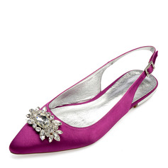 Women's Satin Flat Heel Closed Toe Flats Sandals Slingbacks With Crystal