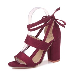 Women's Suede Chunky Heel Sandals Pumps With Lace-up Hollow-out shoes (087165700)