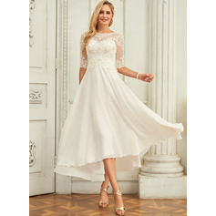 Scoop Neck Asymmetrical Chiffon Wedding Dress With Beading Sequins (265255066)