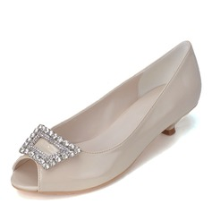 Women's Patent Leather Kitten Heel Peep Toe Pumps With Buckle Rhinestone