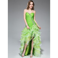 A-Line/Princess Sweetheart Asymmetrical Organza Prom Dress With Beading Sequins Cascading Ruffles