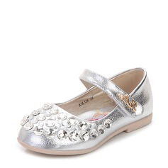 Girl's Closed Toe Leatherette Flat Heel Flats Flower Girl Shoes With Sequin Velcro Crystal