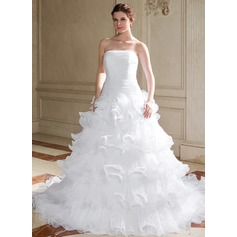 Ball-Gown Strapless Chapel Train Organza Wedding Dress With Cascading Ruffles