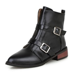 Women's PU Chunky Heel Boots Mid-Calf Boots Martin Boots With Buckle Zipper shoes