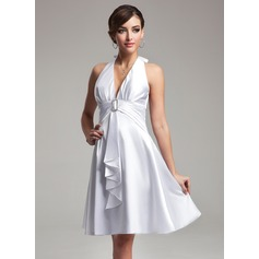 Empire Halter Knee-Length Charmeuse Bridesmaid Dress With Crystal Brooch Bow(s) Cascading Ruffles