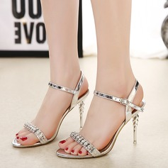 Women's PU Stiletto Heel Sandals Pumps With Rhinestone shoes (087134586)