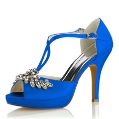 Women's Silk Like Satin Stiletto Heel Platform Pumps Sandals With Crystal