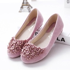 Women's Suede Flat Heel Flats Closed Toe With Rhinestone Satin Flower shoes (086118814)