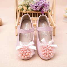 Girl's Leatherette Flat Heel Round Toe Closed Toe Flats With Beading Bowknot Flower