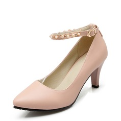 Women's Leatherette Stiletto Heel Pumps Closed Toe With Beading shoes