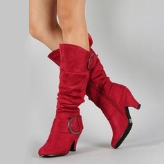 Women's Suede Chunky Heel Pumps Boots With Zipper shoes (088212940)
