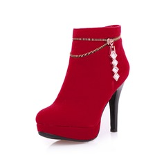 Women's Suede Platform Closed Toe Ankle Boots shoes