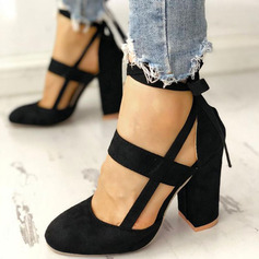 Women's Suede Chunky Heel Pumps Closed Toe With Lace-up shoes (085236351)