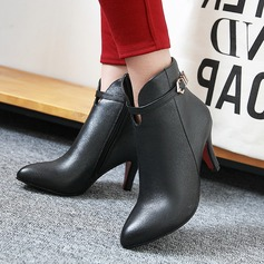 Women's PU Stiletto Heel Pumps Boots Ankle Boots With Buckle Zipper shoes